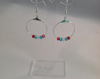 July 4th - Red, White and Blue Hoop Earrings