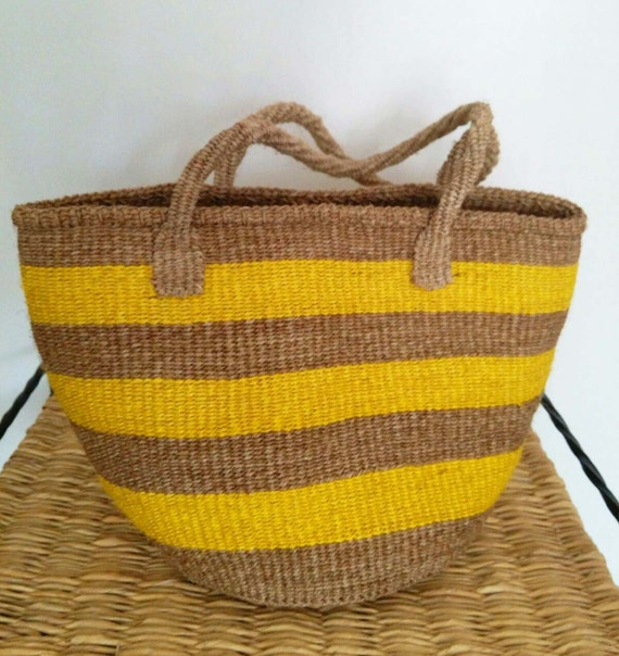 Handmade Baskets From Africa : Yellow and brown african handmade sisal basket by