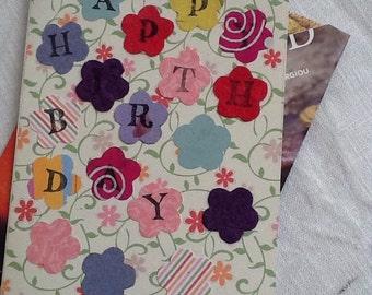 Flowers handmade birthday card