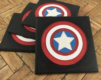 Captain America Coasters - Set of 4