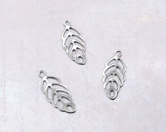 25 x Stainless Steel Small & Thin Filigree Leaf Charms - Silver Tone