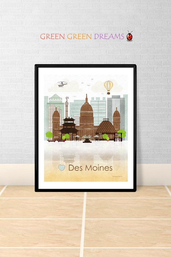 Des Moines Print Poster Wall Art Des Moines By Greengreendreams