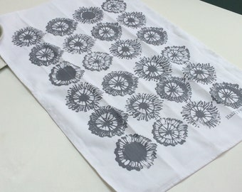 Poppy screenprinted tea towel - gift for her - kitchen gift - new home flower gift - gift for chef - foodie gift - grey kitchen gift