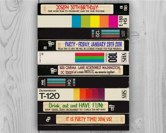 80's 90's Video Cassette Birthday Invitation - 80's 90's Digital Birthday Party Invitations by Printadorable - Customizable