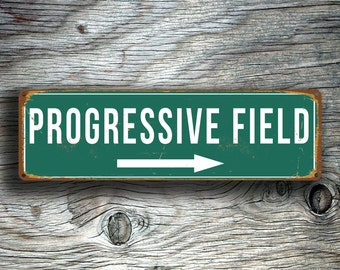 PROGRESSIVE FIELD SIGN, Vintage style Progressive Field Sign, Progressive Field, Home of Cleveland Indians, baseball Gift, Cleveland Indians