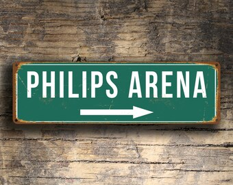 PHILIPS ARENA SIGN, Vintage style Philips Arena Sign, Philips Arena Stadium Sign, Philips Arena, Home of the Atlanta Hawks, Basketball Gifts