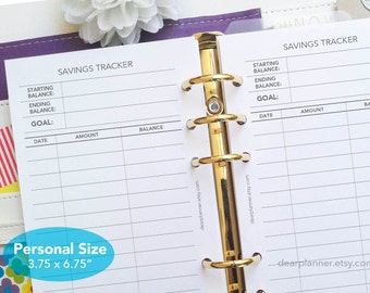PRINTED Savings tracker - Personal size insert - Budget planner - Money management insert - Financial insert - P19
