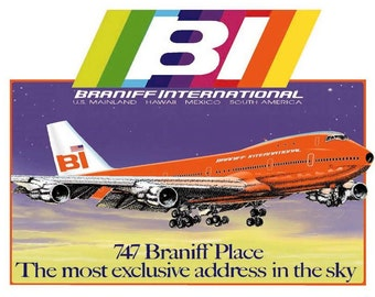 Braniff International  Airlines with 747 Logo Fridge Magnet (LM14157)