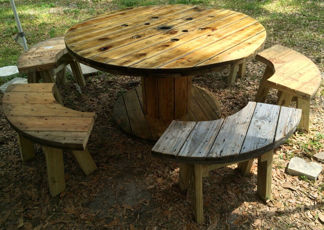 Wire spool table with benches for Large wooden spools used for tables