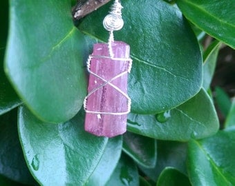 Natural terminated pink tourmaline wire wrapped pendant 12ct