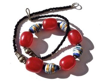 VINTAGE: African Sand Cast Necklace - Ethnic Necklace - Tribal Necklace - (12-D4-00004258)