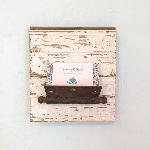 Wall Decor Card Holder : Rustic office decor business card holder letter