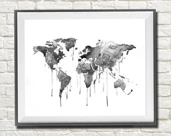 World map watercolor print, Black World map art, Watercolor Painting, Black and white Wall Decor, Abstract Art, Art Print, Watercolor Print