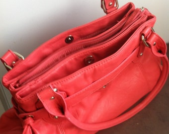 Vintage Womens Purse - Coral Faux Leather - Womens Shoulder Bag - Gift for You