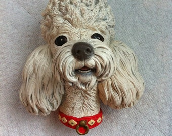 Vintage Poodle Head - Chalkware Wall Plaque - Blonde Poodle Figurine - Gift for the Collector