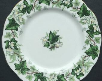 "Royal Albert ""Ivy Lea"" Vintage Plate, Emerald Sage Green Ivy White Flower Vine Salad Plate, Bone China Dish"