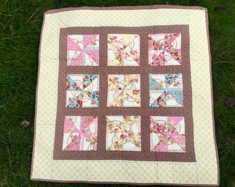Baby quilt. Girl Quilt. Big Stitch. Hand Quilted