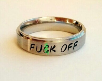 F-ck Off Ring, MATURE, Vulgar, Offensive, Vulgar Ring, Offensive Ring, Funny Ring, F Off, Funny Necklace, Vulgar Jewelry, fuck off, Present