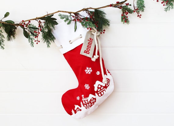 Personalised Christmas Stocking in red with Christmas Village