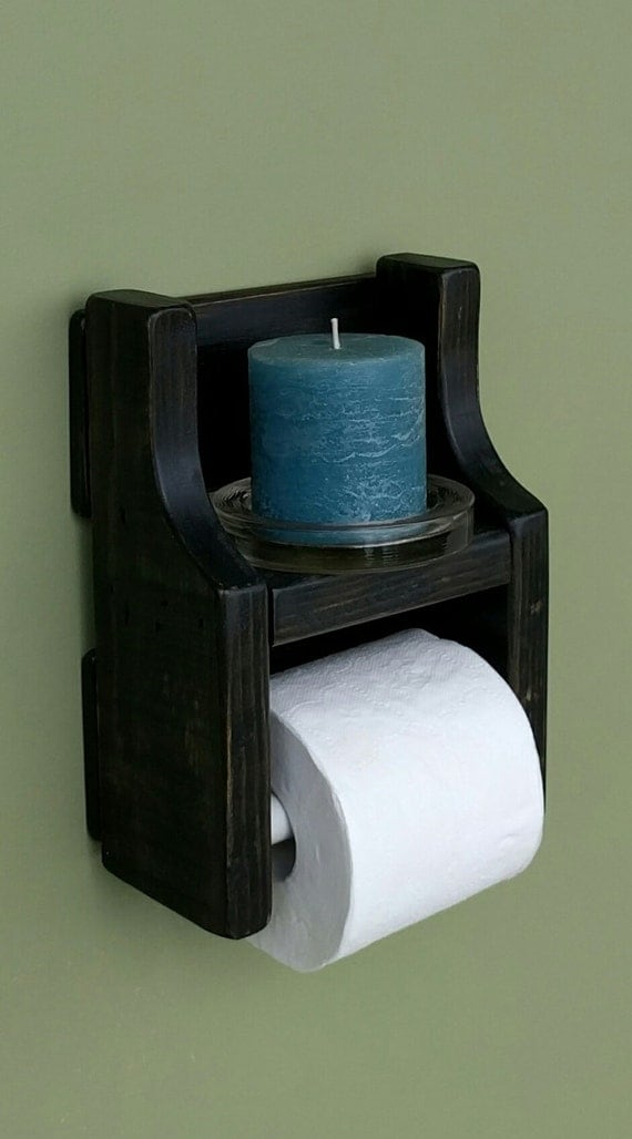 Rustic toilet paper holder with shelf made from reclaimed and Wood toilet paper holders