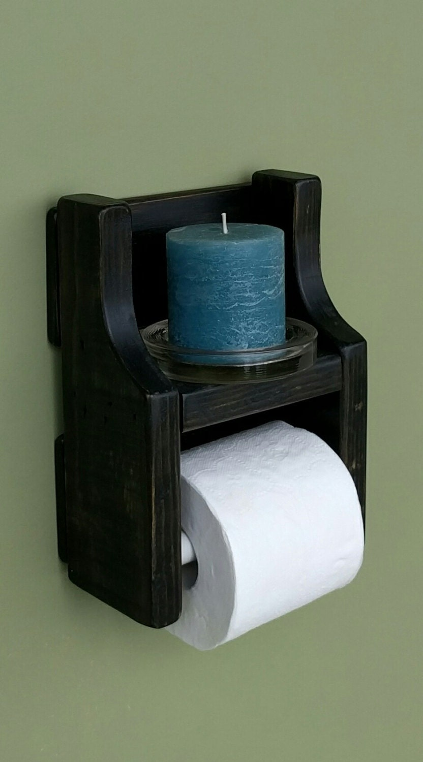 rustic toilet paper holder with shelf made from reclaimed and. Black Bedroom Furniture Sets. Home Design Ideas