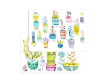 Happy flower pots - set of 2 postcards