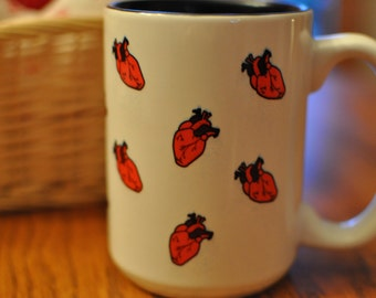 Anatomical Heart Coffee Mug, valentine's day, heart, love, anatomy, red, pattern,