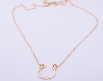 Horseshoe necklace - dainty gold necklace - layering necklace