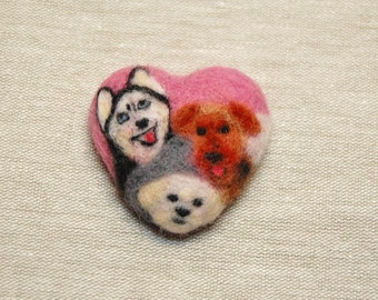 Needle felted husky bichon welsh terrier brooch. Needle felted heart dog brooch. Needle felted animal brooch pin