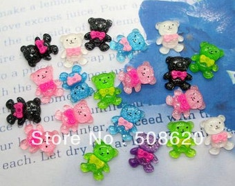 10 Piece Glitter Acrylic Bears, Bow Cabochons - Kawaii Decoden Flatback Resin (TDK-C1158)