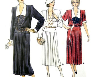 1985 Vogue 9189 Misses' Twenties Style Pullover Dress with Blouson Bodice and Pleated Skirt, Uncut, Factory Folded Sewing Pattern Size 10