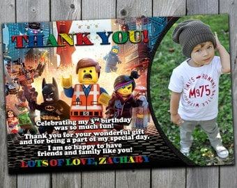 Lego Thank You Card, Lego Movie Thank You Card, Lego Birthday Thank You Card, Lego Party Thank You Card, Lego Invite Thank You Card