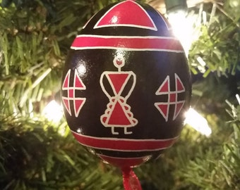 Red & Black Lady Pysanky Christmas Ornament