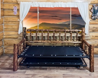 Rustic Log Daybed Popup Trundle Bed Amish Handcrafted