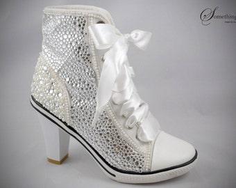 SC26 Bling Bling silver rhinestone with pearl high heel sneaker 8.5cm