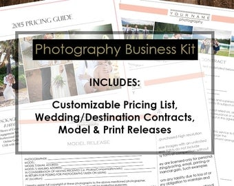 Photography Welcome Kit - Photography Media Kit - Photography Templates - Photography Forms - Photography Model Release - Photo Contract
