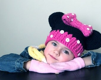 Minnie Mouse Ears Crochet Hat
