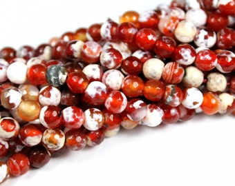 6mm Red Fire Agate Faceted Gemstone Beads - 14 inch Full strand - Faceted Gemstone Beads