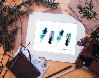 Fly Away Feather Watercolor Print