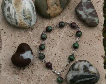Ruby in Zoisite (Anyolite) decade bracelet