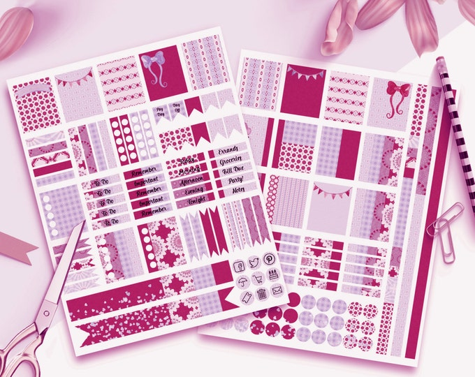 PLANNER STICKER Sheets Berry Pink Purple Banners With Confetti Printable Digital Stickers DIY Erin Condren Life Planner social media Icons