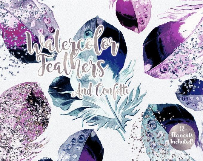 WATERCOLOR FEATHER Clipart Commercial Use Clipart Blush Pink Teal Purple Mint Feathers Silver Rose Gold Confetti Tribal Watercolor Clip Art