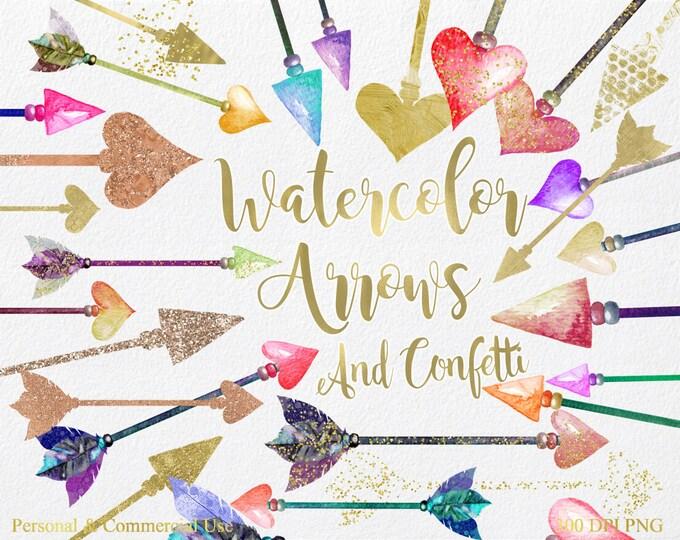 WATERCOLOR ARROW & CONFETTI Clipart Commercial Use Clipart 42 Arrow Graphics with Gold Foil Confetti Tribal Arrow Clip art Feather Arrows