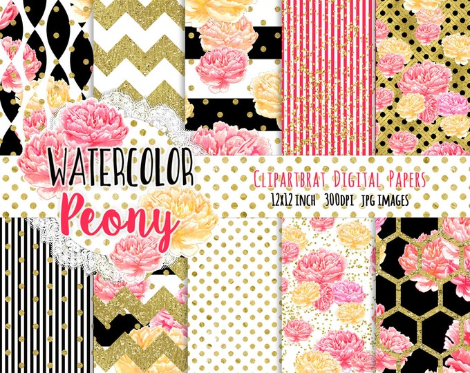 WATERCOLOR FLORAL Digital Paper Pack Black White Coral Pink & Gold Metallic Commercial Use Digital Paper Peony Stripes Chic Digital Paper