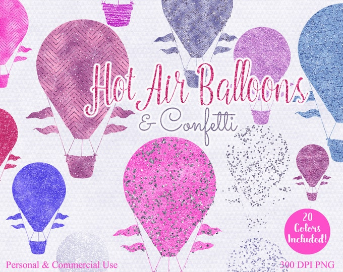 HOT AIR BALLOON Clip Art Commercial Use Clipart 20 Metallic Hot Air Balloon Graphics Pink Confetti & Pink Blue Purple Hot Air Balloons