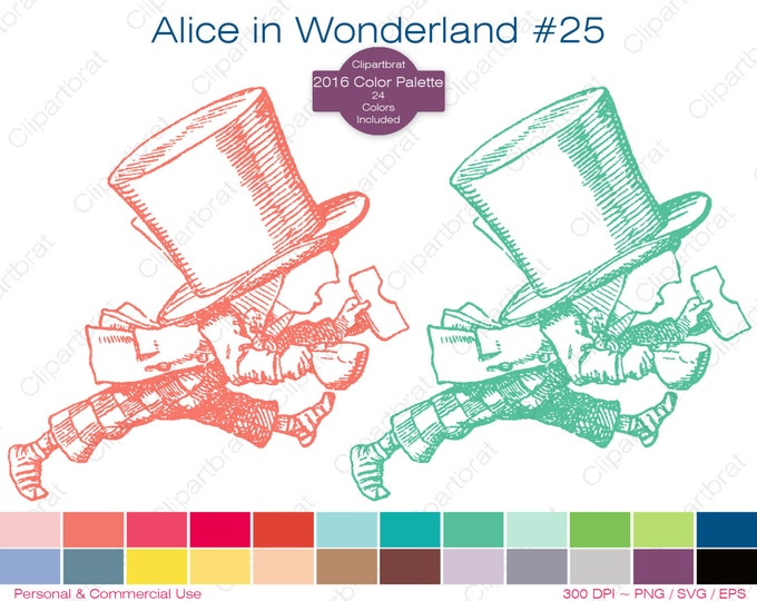 ALICE IN WONDERLAND Clipart Commercial Use Clipart The Mad Hatter Graphic 2016 24 Color Palette John Tenniel Digi Sticker Vector Png Eps Svg