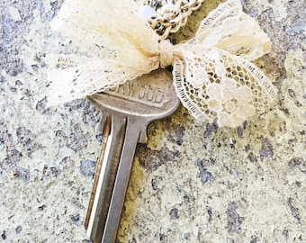All Tied Up // Handmande Repurposed Vintage Key & Lace Necklace