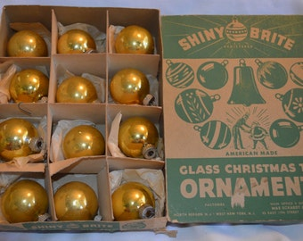 Vintage Shiny Brites, Box of 12 Gold Shiny Brites, Vintage Ornaments