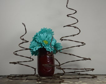 Barbed Wire Tree Set (3) | Reclaimed Barb Wire | Rustic Western Decor | Prim Christmas Tree | Fireplace Mantel Decor |