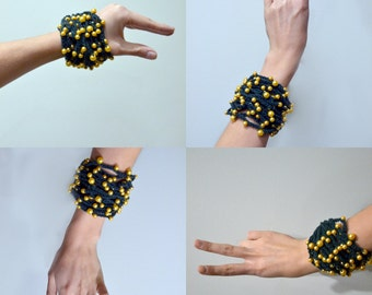 Green Crocheted Bracelets With Golden Beads